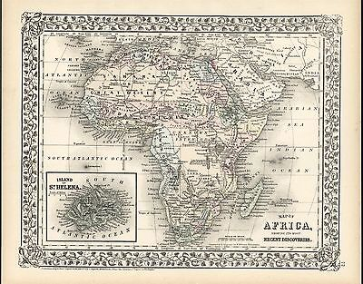 Africa Unknown Mountains of Kong 1872 antique lithograph hand color map