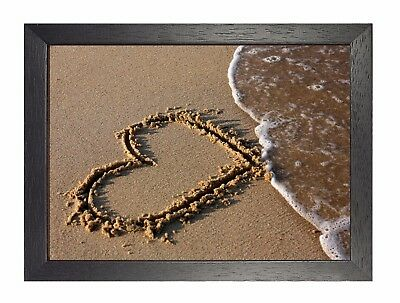 Heart In The Sand Beech Poster Love Couple Forever Valentine Ocean Summer Sea