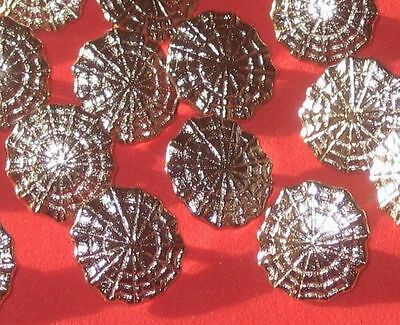 Lot 21 FANCY vintage new SILVER metal set oblong scalloped small buttons