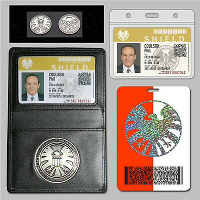 Agents of S.H.I.E.L.D. Shield Badge Holder Phil Coulson's 2 cards + FREE Coin
