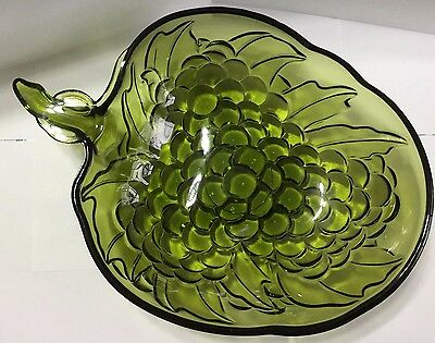 1970's Olive Green Grape Serving Bowl Designed By Indiana Glass