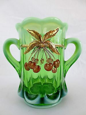 """Mosser Glass Opalescent Green Cherry & Cable Gold Trim 2 Handled Spooner Vase 6"""""""