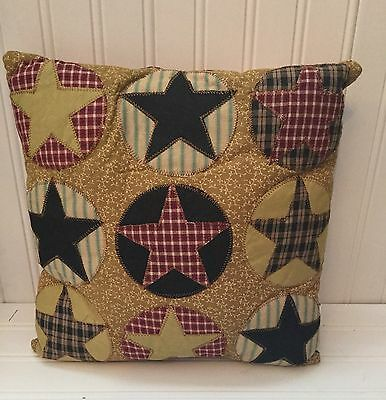 "12"" sq. Primitive Multi-Star Patchwork Fabric Throw Pillows"
