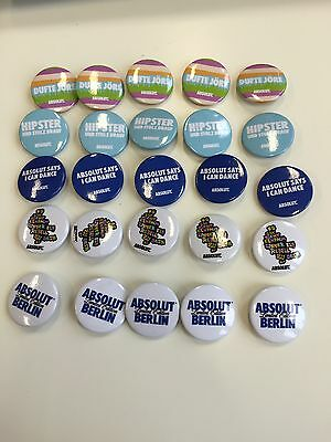 25 Absolut Berlin Absolut Vodka Buttons NEU OVP Bar Deko Style Hipster Party