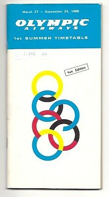 Olympic Airways Timetable Summer 1988 Oa Greece