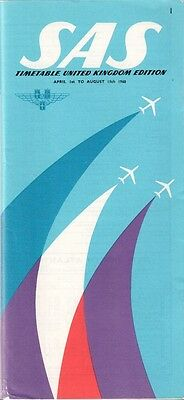 Sas Timetable Summer 1960 Cabin Pics Scandinavian Airlines System