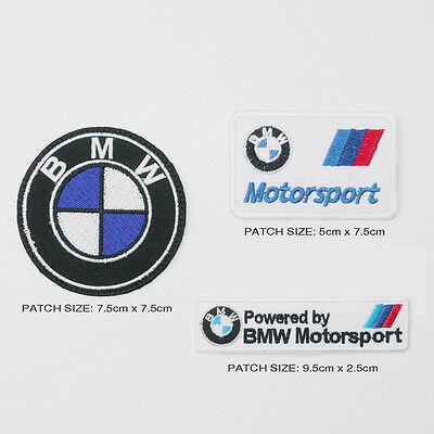 BMW M SERIES MOTORSPORT Patch Set of 3 Different German Marque Car Patches - NEW