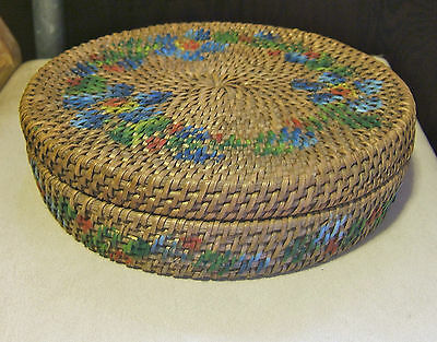 Vintage Basket with Cover with Painted Green,Red& Blue design on sides and Top