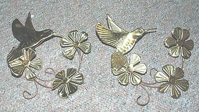 Set Of 2 GOLD METAL HUMMINGBIRD WITH FLOWERS WALL DECOR Homco Home Interior