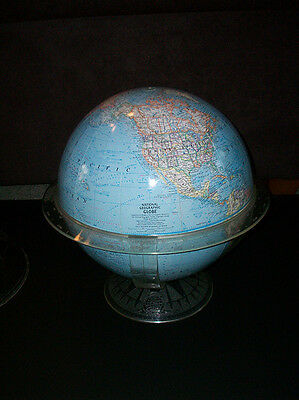 """Vintage National Geographic 12"""" 1966 World Globe , Acrylic Stand and Cap"""