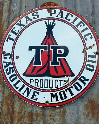 Texas Pacific TP Gasoline motor oil gas porcelain pump plate lubester sign