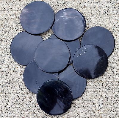 "LOT OF 10 Animal Cow Horn Polished Discs 45mm, 1 3/4"" Black"