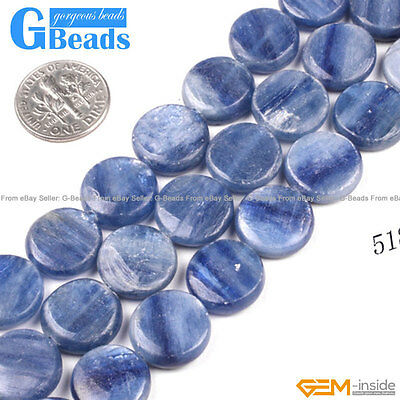 """Natural Blue Kyanite Gemstone Coin Flat Beads Free Shipping 15"""" 12mm 14mm 16mm"""