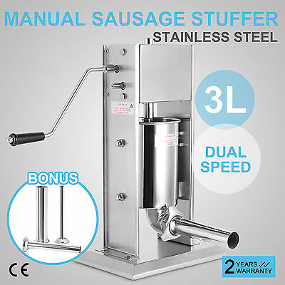3L 304 Stainless Steel Sausage Stuffer Meat Maker Filler 2 Speeds 4 Nozzle