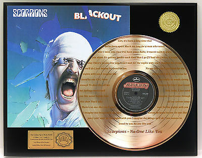 "SCORPIONS GOLD LP RECORD LTD EDITION LASER ETCHED W/ LYRICS ""NO ONE LIKE YOU"""
