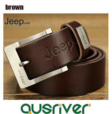 Premium New Genuine Cow Leather JEEP Men's Belt Waistband Casual Business Brown