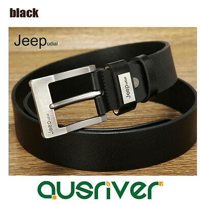 Premium New Genuine Cow Leather JEEP Engraved Men's Belt  Casual Business Black