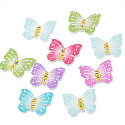 50PCs New 2-hole Wooden Buttons Butterfly Randomly Mixed Sewing Fit Scrapbooking