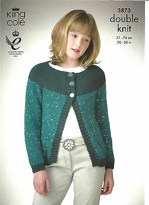 King Cole Double Knitting Pattern,easy Knit Girl's Cardigan, Hats,scarf & Collar