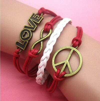 NEW Hot Infinity Love Anchor Leather Cute Charm Bracelet plated Bronze SL75E