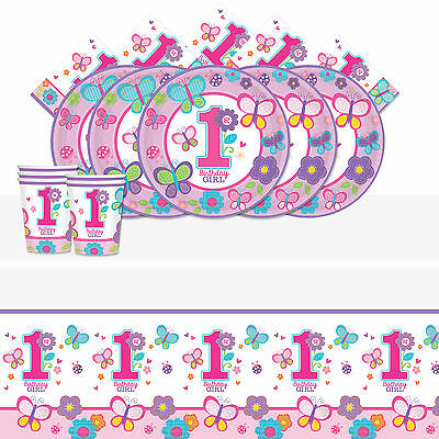 Sweet Pink Butterfly Girl's 1st Birthday Party Tableware Pack Kit For 18