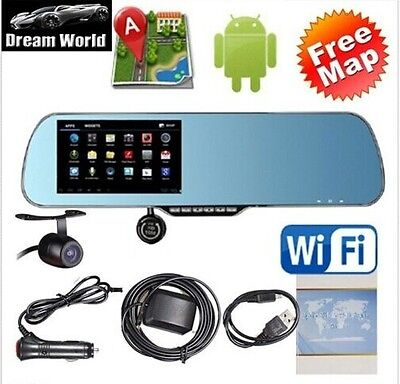Android 4.4 Car Rear view Mirror Navi GPS + 1080P DVR + Wifi + Backup Camera