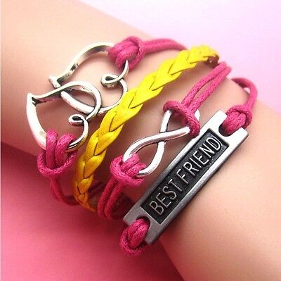 Hot  NEW Infinity Love Anchor Leather Cute Charm Bracelet plated Silver SL71E