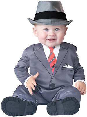 New Baby Face Business Babygrow Outfit Gangster Suit Toddler Fancy Dress Costume