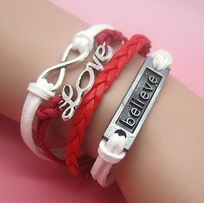 NEW Hot Infinity Love Anchor Leather Cute Charm Bracelet plated Red White SL69E