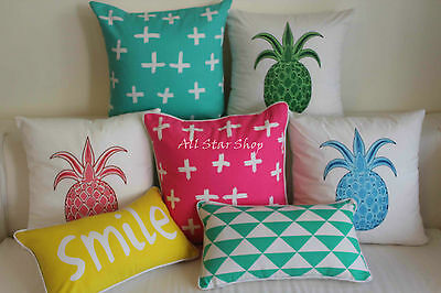Art Vintage Aqua Pineapple Set Home Decor Cotton CUSHION COVER PILLOW CASE 18""