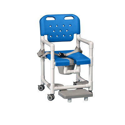 Elite Shower Chair  Commode with Footrest & Seat Belt Blue