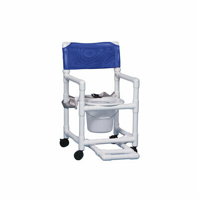 """Shower Chair Commode with Footrest & Seat Belt 17"""" Clearance- Blue"""