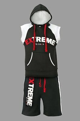 New Mens Hoodie sleeveless tracksuit shorts Gym Mma Boxing t shirts vest active
