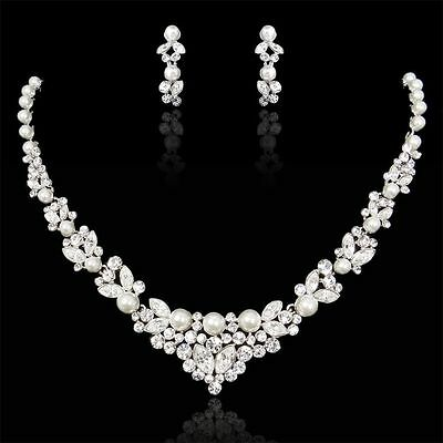 Bridal Wedding Necklace Earring Set Clear Swarovski Crystal White Pearl