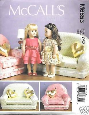 18 INCH DOLL CLOTHES AND FURNITURE PATTERNS MCCALLS 6853