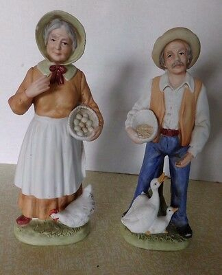 Homco figures-Man feding geese, woman and chicken, 8 inches tall