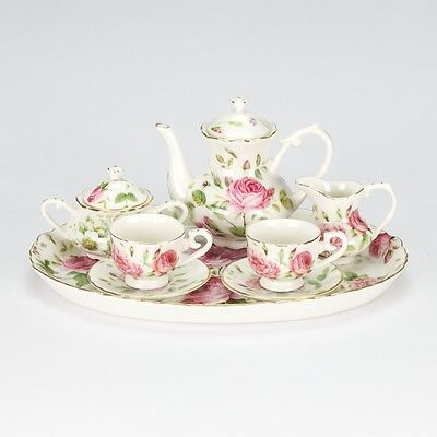 Vintage Rose Collectible Pink White Mini miniature Tea set Porcelain 10pc teapot