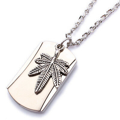 Army Style Cool Silver Weed Mens Dog Tag Pendant Necklace P568