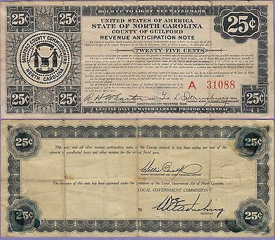 State of North Carolina-Guilford County 25 Cents Revenue Anticipation Note 1933