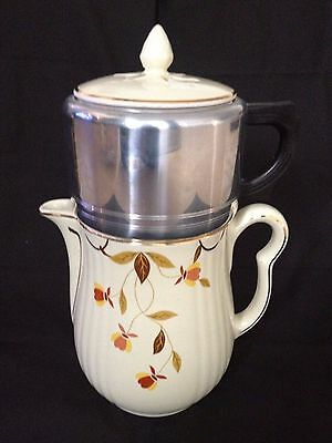 Hall China Jewel Tea Autumn Leaf Rayed Coffee Pot