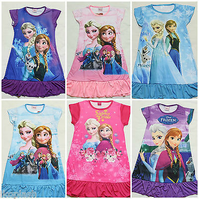 New Girls Frozen Sisters Anna Elsa Olaf Summer Nightwear Sleepwear Nightie 2-8