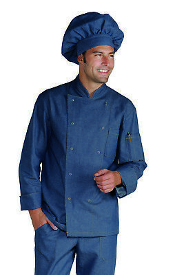 Completo Cuoco Isacco Jeans Pantalone Giacca Cappello Complete Chef Jacket  Pants 2fd35fbc5137