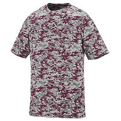 NEW! Maroon Gray Digital Camo Baseball Wicking Dry Fit Youth Sizes T Shirt Kids