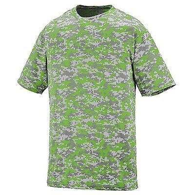 NEW! Neon Green Digital Camo Baseball Wicking Dry Fit Youth Sizes T Shirt Kids