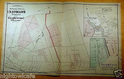 Rare 1876 Map PROPERTY OF PHELPS,HOMANS NEAR ENGLEWOOD NJ New Jersey ORIGINAL