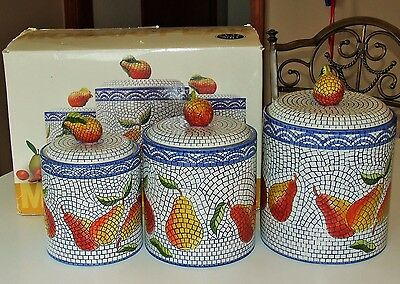 Unique! 6 Piece Canister Set MOSAIC PEAR by Clay Art Blue/White Textured Ceramic