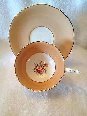 COALPORT Bone China Cup & Saucer Set ~ Peach & White with Multicolored Flowers