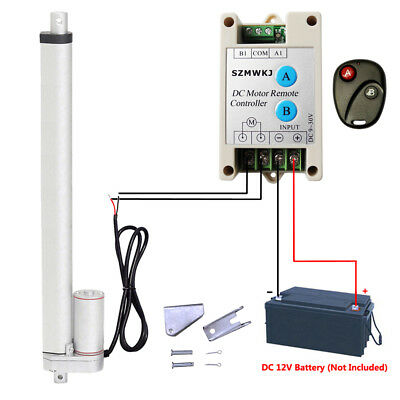 """DC 12V 330lbs Electric 18"""" Linear Actuator &Bracket &Wireless Remote Control Kit"""