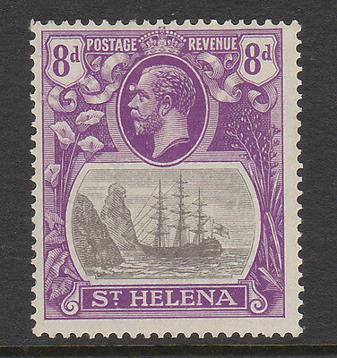 ST HELENA 1922 8d WITH CLEFT ROCK VARIETY SG 105c MINT.
