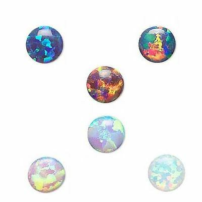 Little 4mm Round Flat Back Domed Small Manmade Opal Cabochon